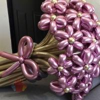 Букет из ромашек 25 штук  (воздушные шары цвета хром)
