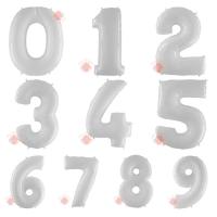 Шары (40''/102 см) Цифры, Белые, 1 шт. с гелием
