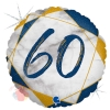 Шар (18''/46 см) Круг, Цифра 60, Мрамор Калакатта, Синий, Голография, 1 шт.