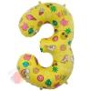 Шар (34''/86 см) Цифра, 3, Веселые картинки, Желтый, в упаковке 1 шт.
