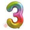 Шар (34''/86 см) Цифра, 3, Яркая радуга, Градиент, в упаковке 1 шт.