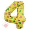 Шар (34''/86 см) Цифра, 4, Веселые картинки, Желтый, в упаковке 1 шт.