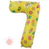 Шар (34''/86 см) Цифра, 7, Веселые картинки, Желтый, в упаковке 1 шт.