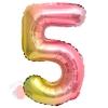 Шар с клапаном (16''/41 см) Мини-цифра, 5, Нежная радуга, Градиент, 1 шт.