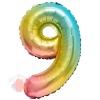 Шар с клапаном (16''/41 см) Мини-цифра, 9, Нежная радуга, Градиент, 1 шт.