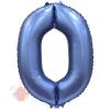 Шар Цифра, 0, Синий, Сатин, в упаковке 1 шт