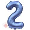 Шар Цифра, 2, Синий, Сатин, в упаковке 1 шт