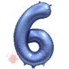 Шар Цифра, 6, Синий, Сатин, в упаковке 1 шт