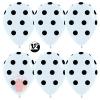 Воздушный шар (12''/30 см) Черные точки, Белый (005), пастель, 5 ст, 12 шт.
