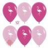 Воздушный шар (12/30 см) Фламинго, Фуше (012)/Розовый (009), пастель, 2 ст, 12 шт.