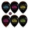 Воздушный Шар (12/30 см) С Днем рождения, Черный, пастель, 5 ст многоцвет флюор, 12 шт.