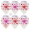 Воздушный шар Разноцветные сердца, Прозрачный (390), кристалл, 5 ст многоцвет, 12 шт