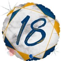 "Цифра ""18"" Мрамор Синий"